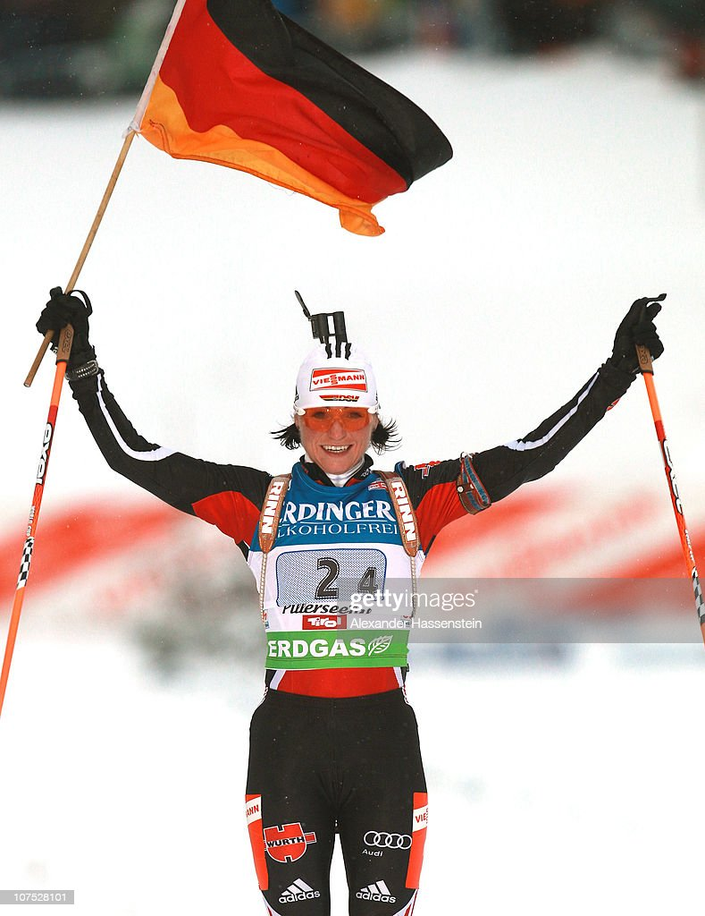 <a gi-track='captionPersonalityLinkClicked' href=/galleries/search?phrase=Andrea+Henkel&family=editorial&specificpeople=233764 ng-click='$event.stopPropagation()'>Andrea Henkel</a> of Germany celebrates winning the women 4 x 6 km relay event in the IBU Biathlon World Cup on December 11, 2010 in Hochfilzen, Austria.