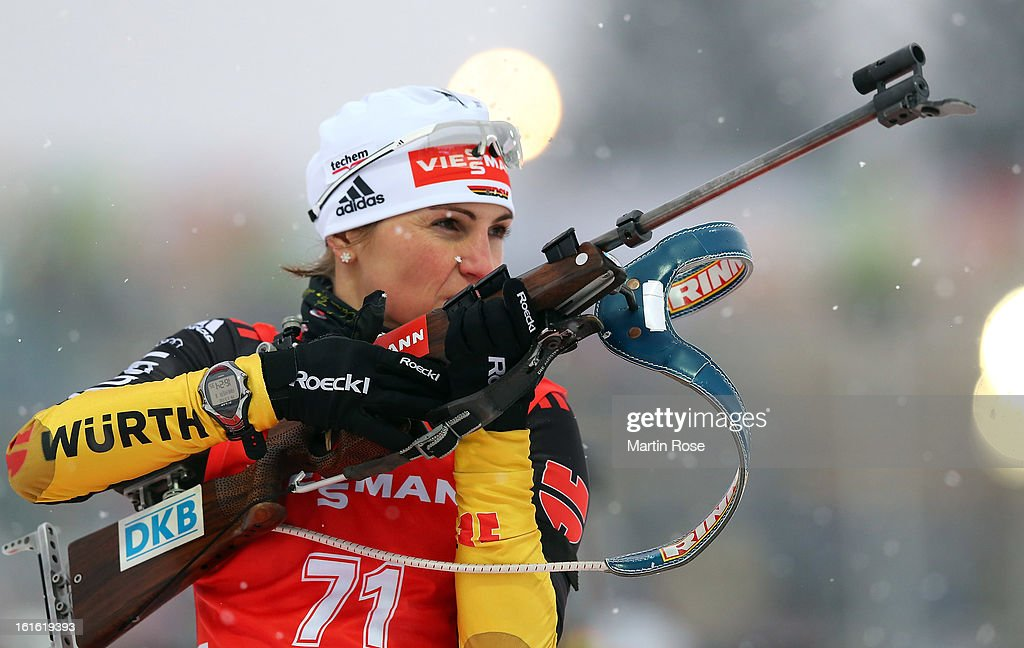 Andrea Henkel of Germany competes at the zeoring in the Women's 15km Individual during the IBU Biathlon World Championships at Vysocina Arena on February 13, 2013 in Nove Mesto na Morave, Czech Republic.