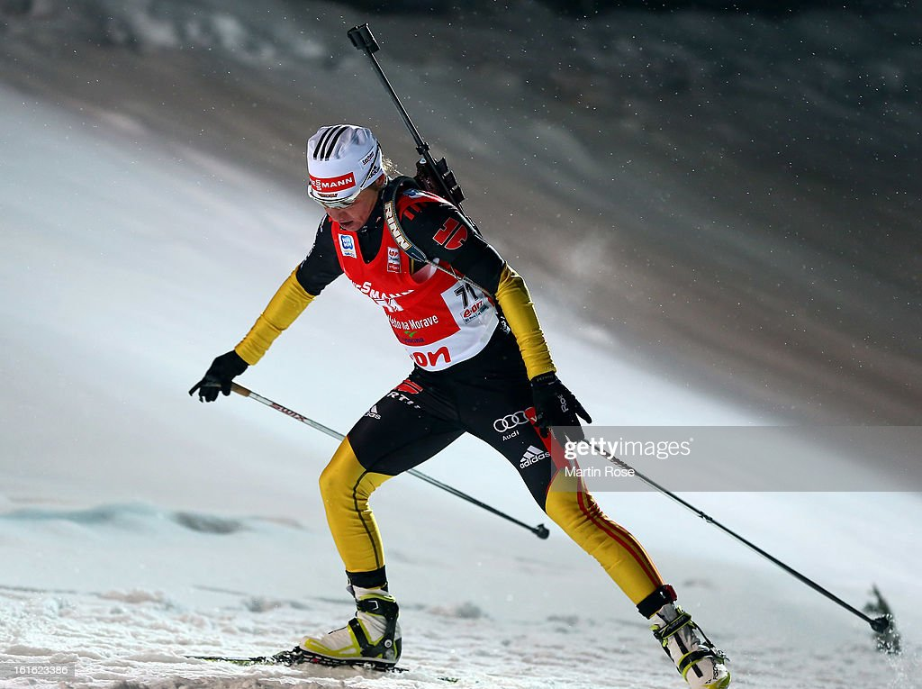 Andrea Henkel of Germany competes in the Women's 15km Individual during the IBU Biathlon World Championships at Vysocina Arena on February 13, 2013 in Nove Mesto na Morave, Czech Republic.