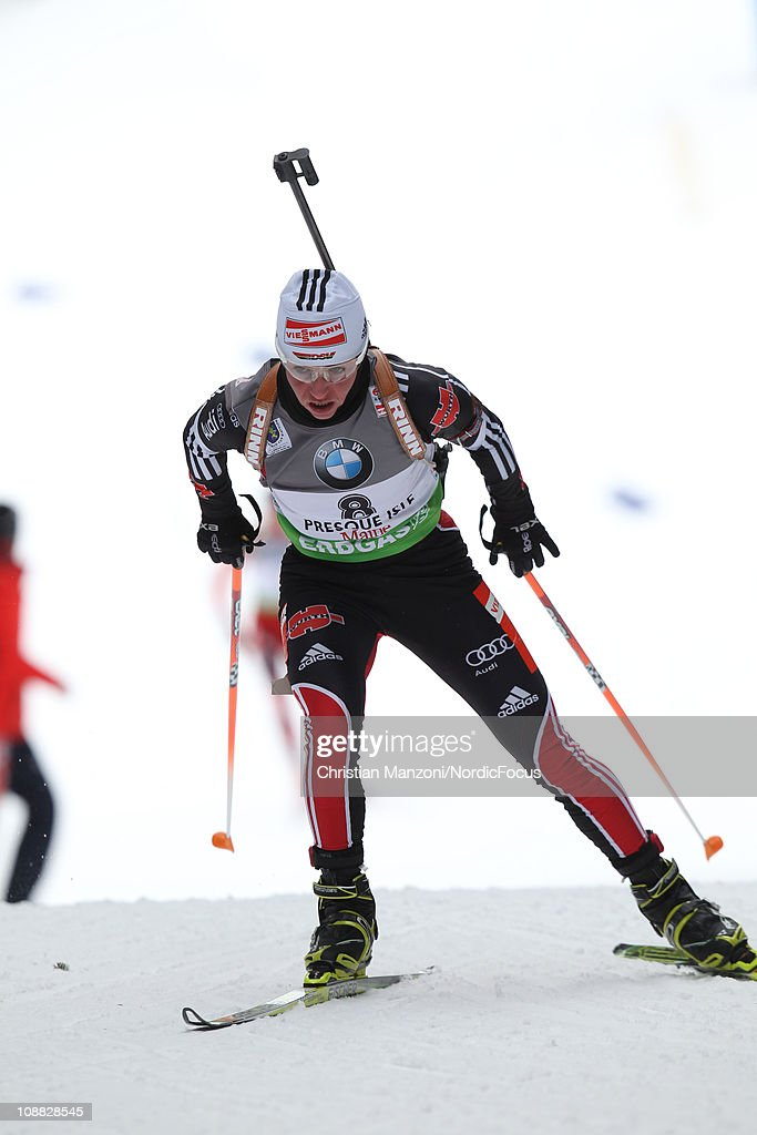 <a gi-track='captionPersonalityLinkClicked' href=/galleries/search?phrase=Andrea+Henkel&family=editorial&specificpeople=233764 ng-click='$event.stopPropagation()'>Andrea Henkel</a> of Germany competes in the women's sprint during the E.ON IBU Biathlon World Cup on February 4, 2011 in Presque Isle, United States.