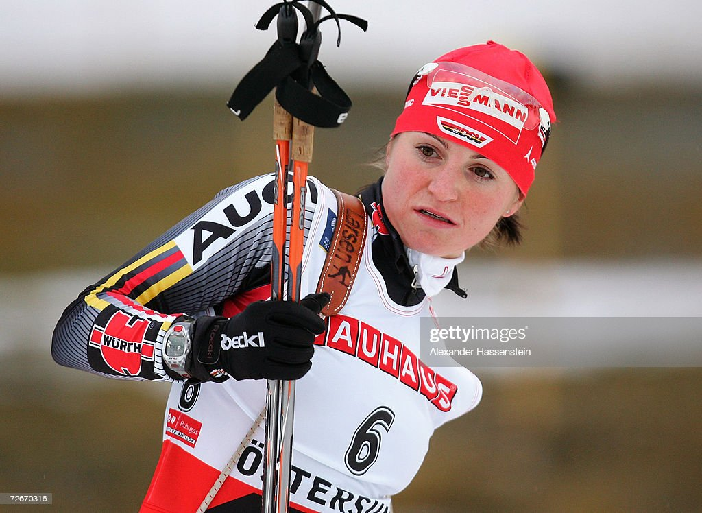 Andrea Henkel of Germany looks on during the first Women 15 km Individual Biathlon event of the season, on November 29, 2006 in Ostersund, Sweden.