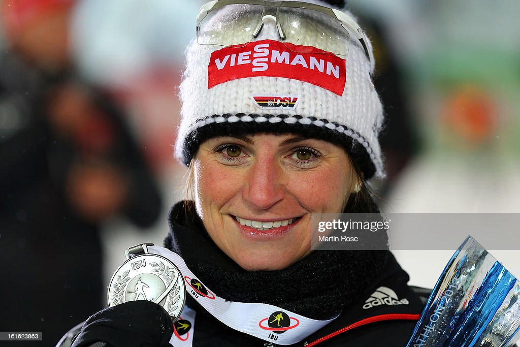 <a gi-track='captionPersonalityLinkClicked' href=/galleries/search?phrase=Andrea+Henkel&family=editorial&specificpeople=233764 ng-click='$event.stopPropagation()'>Andrea Henkel</a> of Germany poses with the silver medal after the Women's 15km Individual during the IBU Biathlon World Championships at Vysocina Arena on February 13, 2013 in Nove Mesto na Morave, Czech Republic.