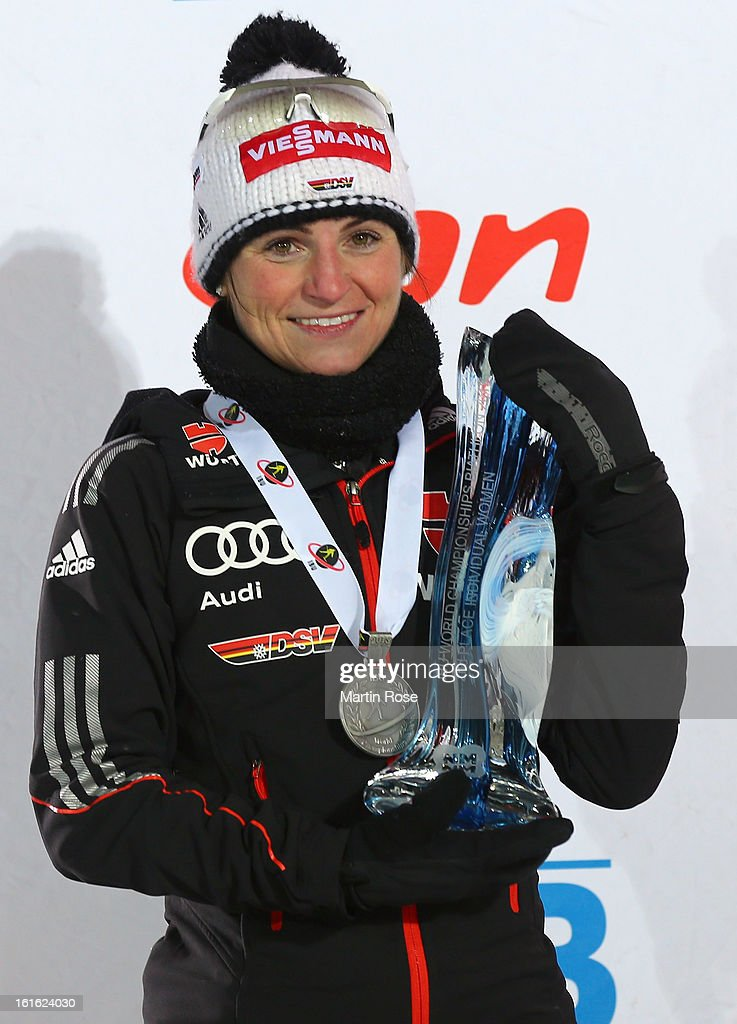 Andrea Henkel of Germany poses with the silver medal after the Women's 15km Individual during the IBU Biathlon World Championships at Vysocina Arena on February 13, 2013 in Nove Mesto na Morave, Czech Republic.
