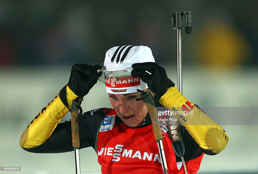 Andrea Henkel of Germany reacts after crossing the finish line in the Women's 15km Individual during the IBU Biathlon World Championships at Vysocina Arena on February 13, 2013 in Nove Mesto na Morave, Czech Republic.