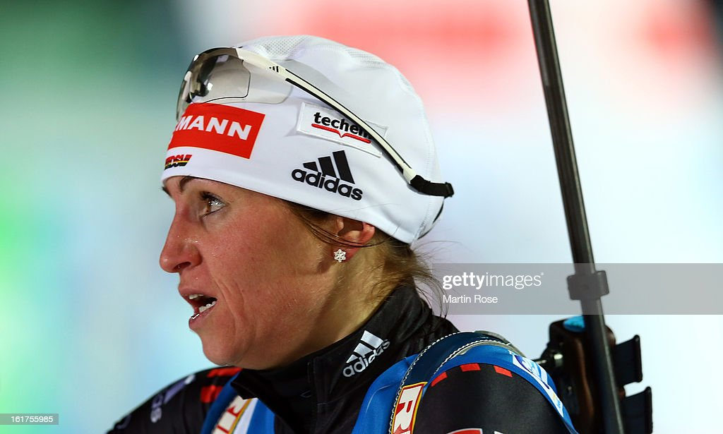 <a gi-track='captionPersonalityLinkClicked' href=/galleries/search?phrase=Andrea+Henkel&family=editorial&specificpeople=233764 ng-click='$event.stopPropagation()'>Andrea Henkel</a> of Germany reacts after crossing the finish line in the Women's 4 x 6km Relay in the IBU Biathlon World Championships at Vysocina Arena on February 15, 2013 in Nove Mesto na Morave, Czech Republic.