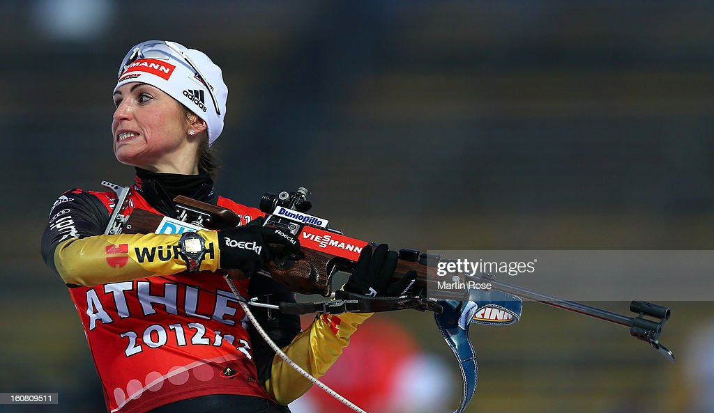 <a gi-track='captionPersonalityLinkClicked' href=/galleries/search?phrase=Andrea+Henkel&family=editorial&specificpeople=233764 ng-click='$event.stopPropagation()'>Andrea Henkel</a> of Germany reacts during an offical training session at Vysocina Arena on February 6, 2013 in Nove Mesto na Morave, Czech Republic.