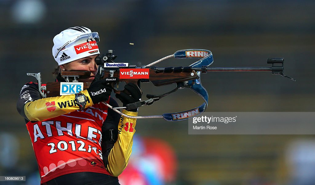 <a gi-track='captionPersonalityLinkClicked' href=/galleries/search?phrase=Andrea+Henkel&family=editorial&specificpeople=233764 ng-click='$event.stopPropagation()'>Andrea Henkel</a> of Germany shoots during an offical training session at Vysocina Arena on February 6, 2013 in Nove Mesto na Morave, Czech Republic.