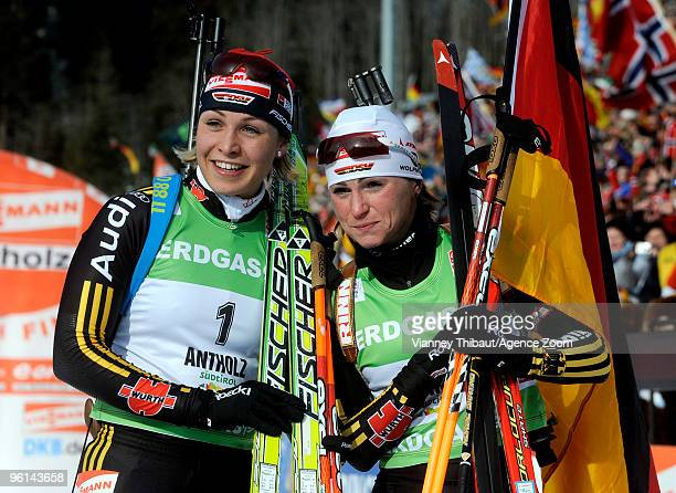 Andrea Henkel of Germany takes 1st place and Magdalena Neuner of Germany takes 2nd place during the eon Ruhrgas IBU Biathlon World Cup Women's 10 km...