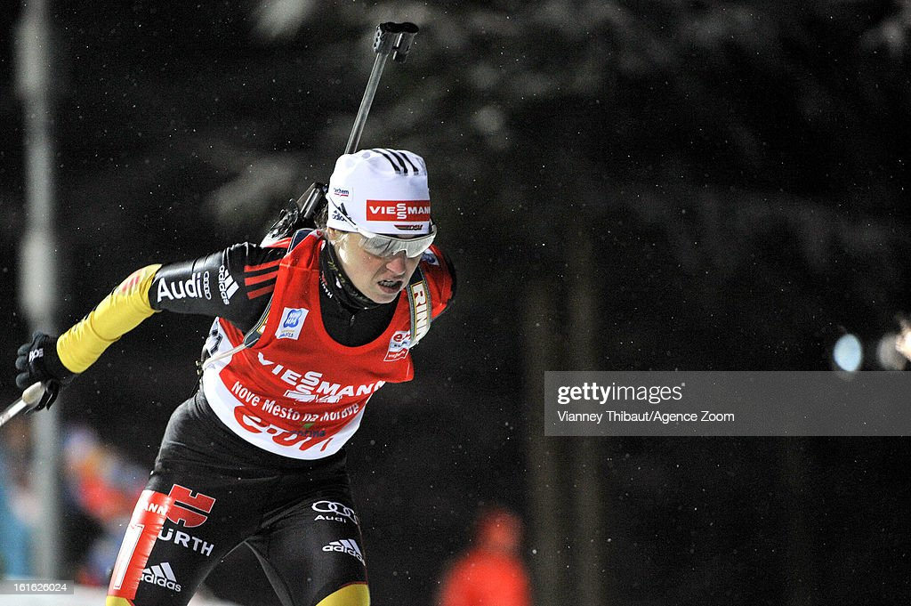 Andrea Henkel of Germany takes 2nd place during the IBU Biathlon World Championship Women's 15km Individual on February 13, 2013 in Nove Mesto, Czech Republic.