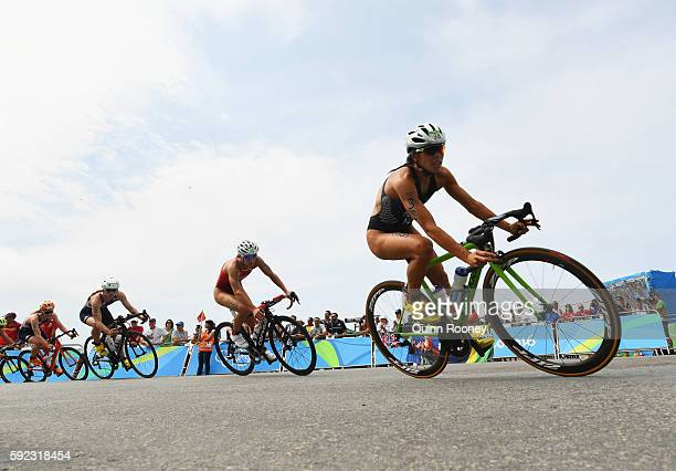 Andrea Hewitt of New Zealand rides during the Women's Triathlon on Day 15 of the Rio 2016 Olympic Games at Fort Copacabana on August 20 2016 in Rio...