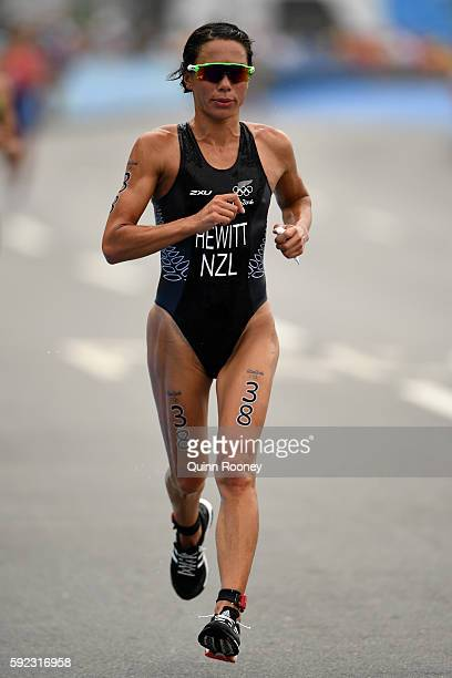 Andrea Hewitt of New Zealand runs during the Women's Triathlon on Day 15 of the Rio 2016 Olympic Games at Fort Copacabana on August 20 2016 in Rio de...