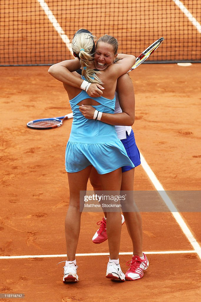 <a gi-track='captionPersonalityLinkClicked' href=/galleries/search?phrase=Andrea+Hlavackova&family=editorial&specificpeople=3378910 ng-click='$event.stopPropagation()'>Andrea Hlavackova</a> and <a gi-track='captionPersonalityLinkClicked' href=/galleries/search?phrase=Lucie+Hradecka&family=editorial&specificpeople=4882302 ng-click='$event.stopPropagation()'>Lucie Hradecka</a> of Czech Republic celebrate matchpoint during the women's doubles final match between Sania Mirza of India and Elena Vesnina of Russia <a gi-track='captionPersonalityLinkClicked' href=/galleries/search?phrase=Andrea+Hlavackova&family=editorial&specificpeople=3378910 ng-click='$event.stopPropagation()'>Andrea Hlavackova</a> and <a gi-track='captionPersonalityLinkClicked' href=/galleries/search?phrase=Lucie+Hradecka&family=editorial&specificpeople=4882302 ng-click='$event.stopPropagation()'>Lucie Hradecka</a> of Czech Republic on day thirteen of the French Open at Roland Garros on June 3, 2011 in Paris, France.