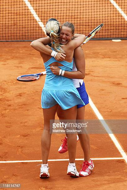 Andrea Hlavackova and Lucie Hradecka of Czech Republic celebrate matchpoint during the women's doubles final match between Sania Mirza of India and...