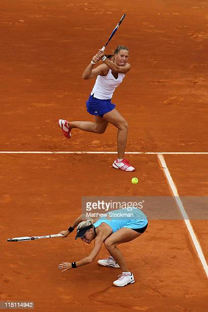 Andrea Hlavackova and Lucie Hradecka of Czech Republic in action during the women's doubles final match between Sania Mirza of India and Elena...