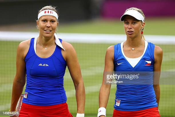 Andrea Hlavackova and Lucie Hradecka of Czech Republic look on against Serena Williams and Venus Williams of the United States during the Women's...