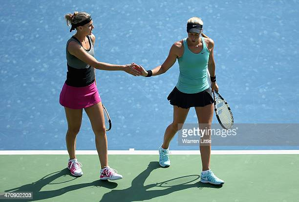 Andrea Hlavackova and Lucie Safarova of the Czech Rupublic celebrate during the Doubles semi final match against Alla Kudryavtseva of Russia and...