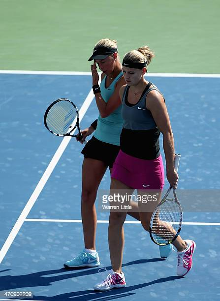 Andrea Hlavackova and Lucie Safarova of the Czech Rupublic in action during the Doubles semi final match against Alla Kudryavtseva of Russia and...