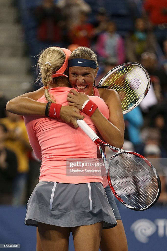 <a gi-track='captionPersonalityLinkClicked' href=/galleries/search?phrase=Andrea+Hlavackova&family=editorial&specificpeople=3378910 ng-click='$event.stopPropagation()'>Andrea Hlavackova</a> of Czech Republic and <a gi-track='captionPersonalityLinkClicked' href=/galleries/search?phrase=Lucie+Hradecka&family=editorial&specificpeople=4882302 ng-click='$event.stopPropagation()'>Lucie Hradecka</a> of Czech Republic celebrate winning their women's doubles final match against Ashleigh Barty and Casey Dellacqua of Australia on Day Thirteen of the 2013 US Open at USTA Billie Jean King National Tennis Center on September 7, 2013 in the Flushing neighborhood of the Queens borough of New York City.