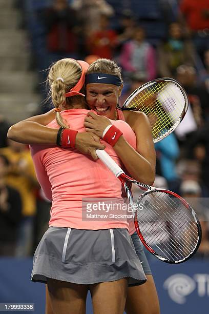 Andrea Hlavackova of Czech Republic and Lucie Hradecka of Czech Republic celebrate winning their women's doubles final match against Ashleigh Barty...