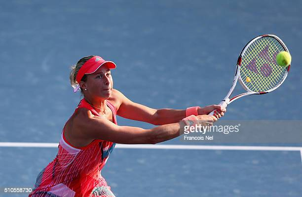 Andrea Hlavackova of Czech Republic in action during day two of the WTA Dubai Duty Free Tennis Championship at the Dubai Duty Free Stadium on...