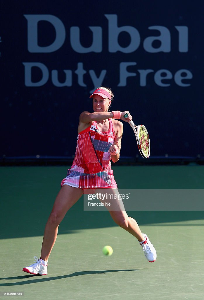 <a gi-track='captionPersonalityLinkClicked' href=/galleries/search?phrase=Andrea+Hlavackova&family=editorial&specificpeople=3378910 ng-click='$event.stopPropagation()'>Andrea Hlavackova</a> of Czech Republic in action during day two of the WTA Dubai Duty Free Tennis Championship at the Dubai Duty Free Stadium on February 16, 2016 in Dubai, United Arab Emirates.