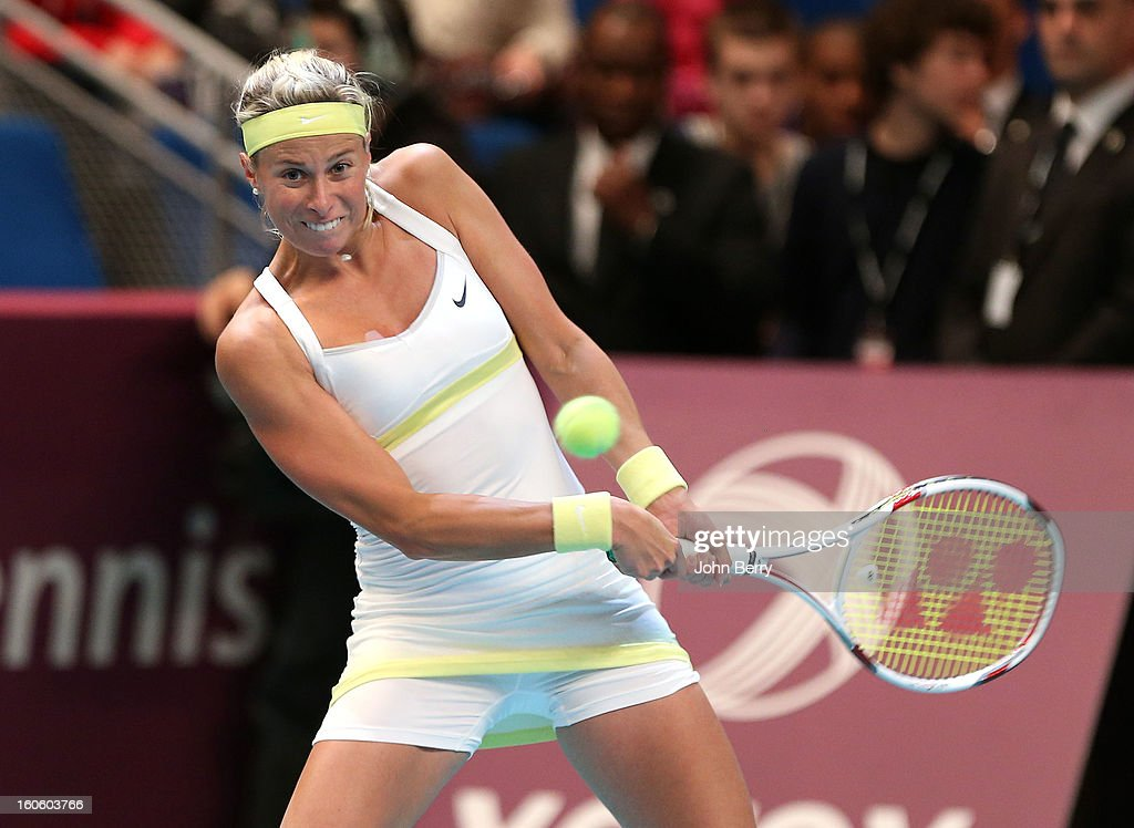 Andrea Hlavackova of Czech Republic in action during the doubles final of the Open GDG Suez 2013 at the Stade Pierre de Coubertin on February 3, 2013 in Paris, France.
