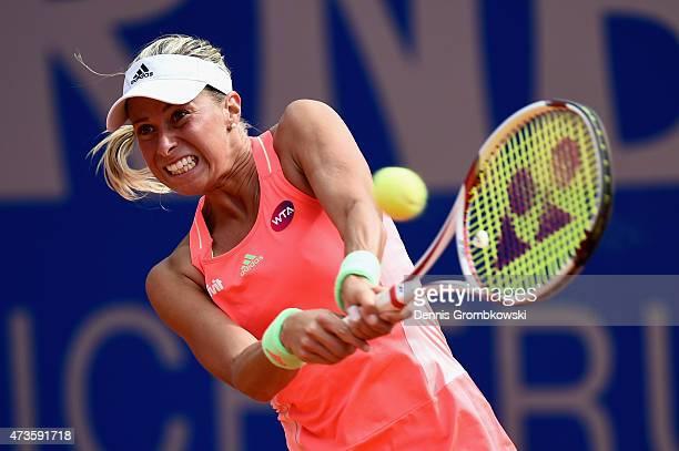 Andrea Hlavackova of Czech Republic plays a backhand in her qualifier match against Barbara Haas of Austria during the Day One of the Nuernberger...
