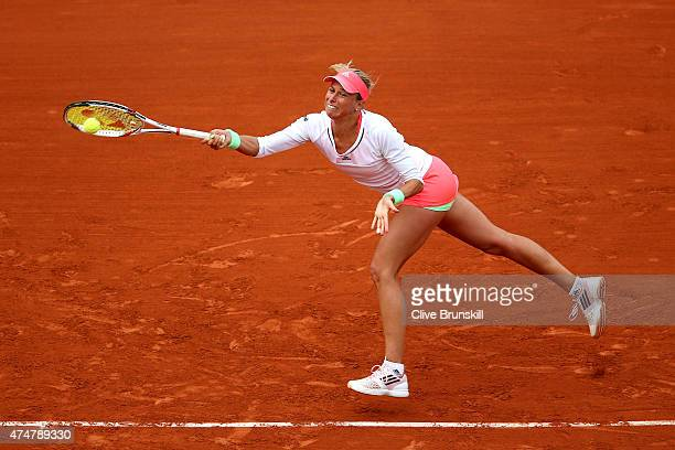 Andrea Hlavackova of Czech Republic plays a forehand during her Women's Singles match against Serena Williams of the United States on day three of...