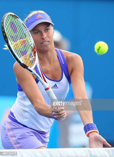 Andrea Hlavackova of the Czech Republic in action in their first round mixed doubles match with Alexander Peya of Austria against Raquel KopsJones of...