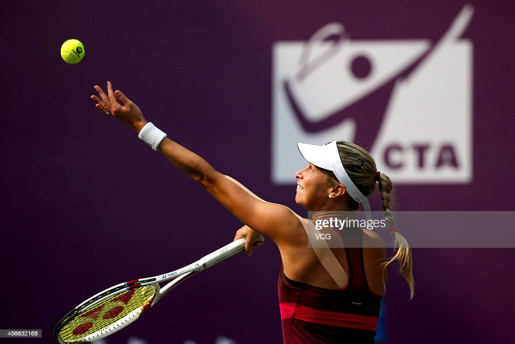 <a gi-track='captionPersonalityLinkClicked' href=/galleries/search?phrase=Andrea+Hlavackova&family=editorial&specificpeople=3378910 ng-click='$event.stopPropagation()'>Andrea Hlavackova</a> of the Czech Republic serves in her match against Sorana Cirstea of Romania during day three of the WTA Tianjin Open at Tianjin Tuanbo Tennis Center on October 8, 2014 in Tianjin, China.