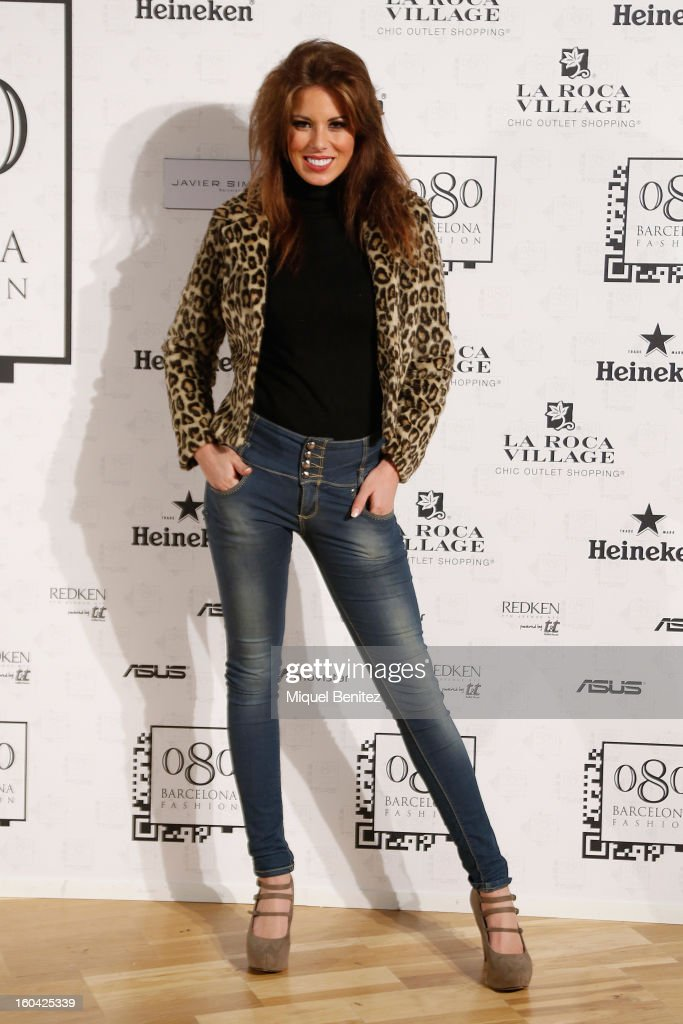 Andrea Huisgen attends the Javier Simorra fashion show as part of the 080 Barcelona Fashion Week Autumn/Winter 2013-2014 on January 31, 2013 in Barcelona, Spain.