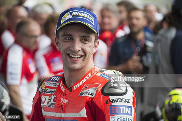 Andrea Iannone of Italy and Ducati Team celebrates the third place under the podium at the end of the MotoGP race during the MotoGp Red Bull US Grand...