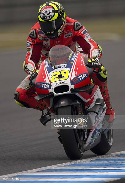 Andrea Iannone of Italy and Ducati Team heads down a straight during the qualifying practice during the MotoGP Of Japan Qualifying at Twin Ring...