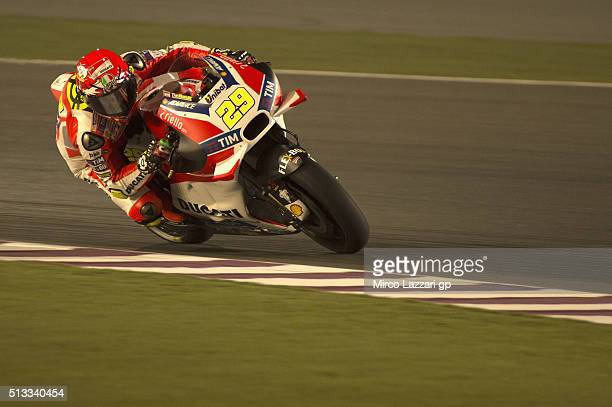 Andrea Iannone of Italy and Ducati Team heads down a straight during the MotoGP Tests In Doha at Losail Circuit on March 2 2016 in Doha Qatar