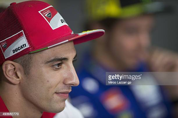 Andrea Iannone of Italy and Ducati Team looks on during the press conference ahead of the MotoGP of Malaysia at Sepang Circuit on October 22 2015 in...