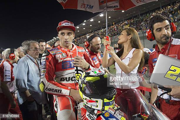 Andrea Iannone of Italy and Ducati Team prepares to start on the grid during the MotoGP race during the MotoGp of Qatar Race at Losail Circuit on...