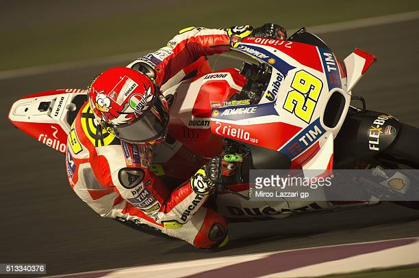 Andrea Iannone of Italy and Ducati Team rounds the bend during the MotoGP Tests In Doha at Losail Circuit on March 2 2016 in Doha Qatar
