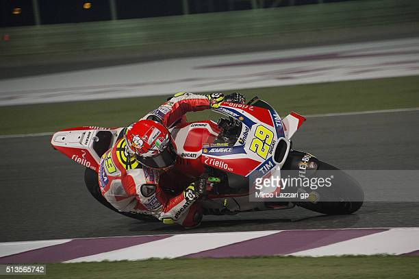 Andrea Iannone of Italy and Ducati Team rounds the bend during the MotoGP Tests In Doha at Losail Circuit on March 3 2016 in Doha Qatar