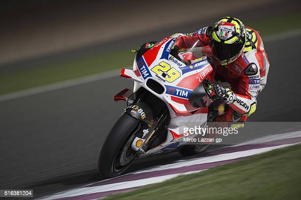 Andrea Iannone of Italy and Ducati Team rounds the bend during the MotoGp of Qatar Free Practice at Losail Circuit on March 18 2016 in Doha Qatar