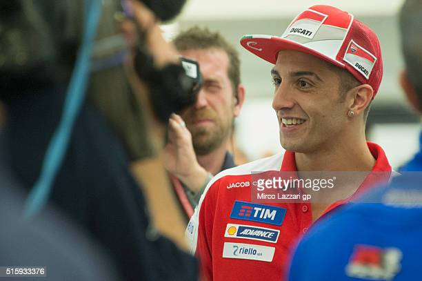 Andrea Iannone of Italy and Ducati Team smiles before the press conference during the MotoGp of Qatar Press Conference at Losail Circuit on March 16...