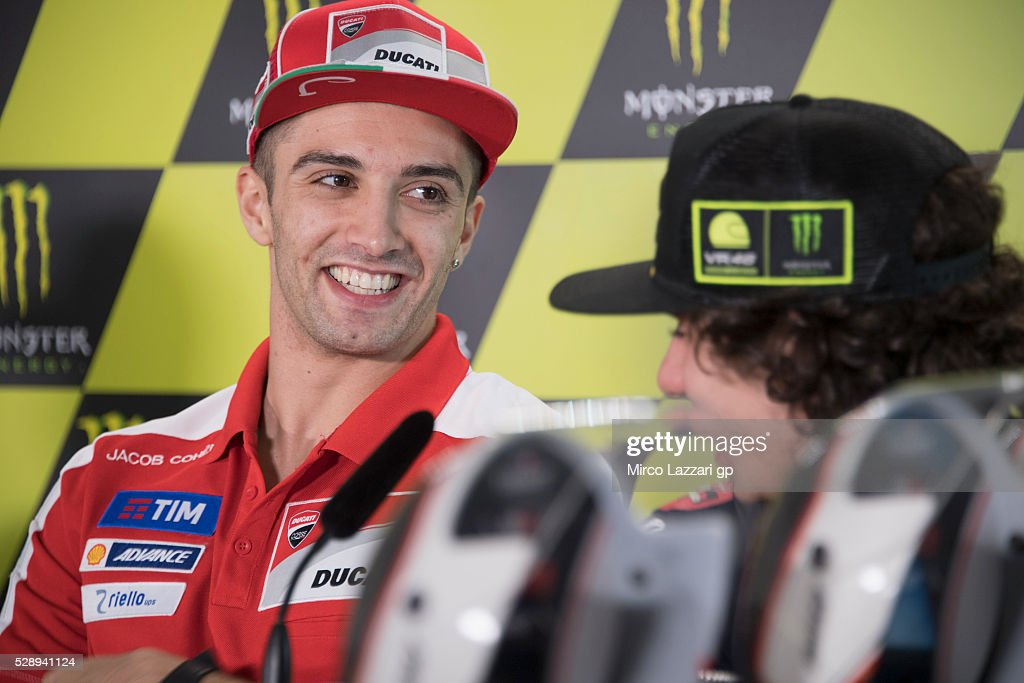 <a gi-track='captionPersonalityLinkClicked' href=/galleries/search?phrase=Andrea+Iannone&family=editorial&specificpeople=5314381 ng-click='$event.stopPropagation()'>Andrea Iannone</a> of Italy and Ducati Team smiles during the press conference at the end of the qualifying practice during the MotoGp of France - Qualifying at on May 7, 2016 in Le Mans, France.