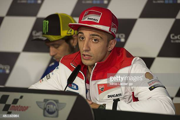 Andrea Iannone of Italy and Ducati Team speaks during the press conference preevent during the MotoGp of Germany Previews at Sachsenring Circuit on...