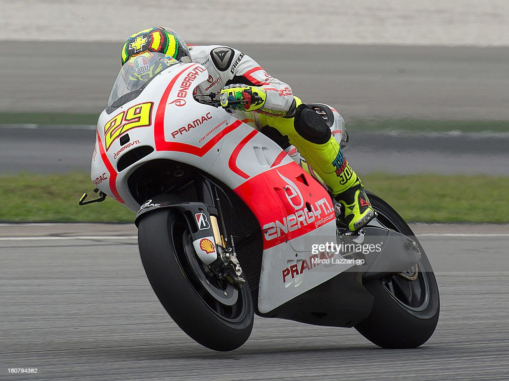 Andrea Iannone of Italy and Energy T.I. Pramac Racing Team heads down a straight during the MotoGP Tests in Sepang - Day Four at Sepang Circuit on February 6, 2013 in Kuala Lumpur, Malaysia.