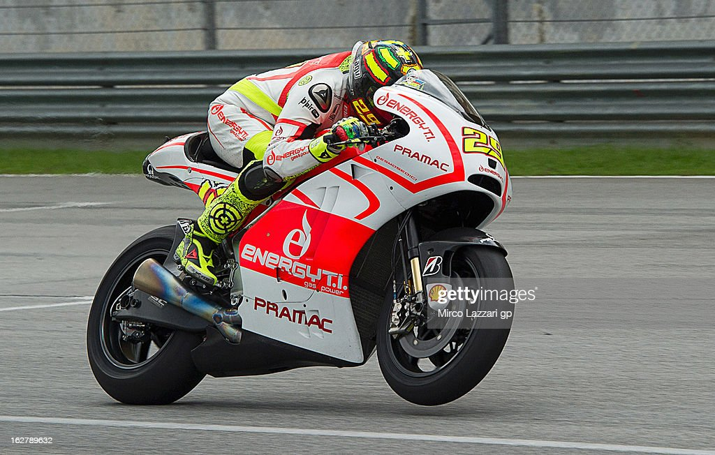 Andrea Iannone of Italy and Energy T.I. Pramac Racing Team heads down a straight during the MotoGP Tests in Sepang - Day Two at Sepang Circuit on February 27, 2013 in Kuala Lumpur, Malaysia.