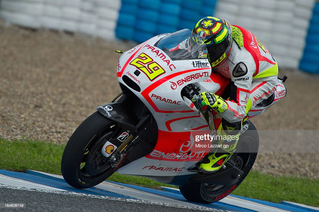 <a gi-track='captionPersonalityLinkClicked' href=/galleries/search?phrase=Andrea+Iannone&family=editorial&specificpeople=5314381 ng-click='$event.stopPropagation()'>Andrea Iannone</a> of Italy and Energy T.I. Pramac Racing Team heads down a straight during the MotoGP Tests In Jerez - Day 4 at Circuito de Jerez on March 25, 2013 in Jerez de la Frontera, Spain.