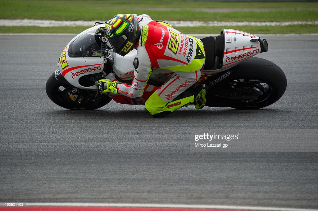 Andrea Iannone of Italy and Energy T.I. Pramac Racing Team rounds the bend during the MotoGP Tests in Sepang - Day Four at Sepang Circuit on February 6, 2013 in Kuala Lumpur, Malaysia.