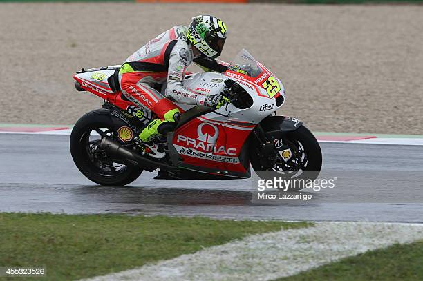 Andrea Iannone of Italy and Pramac Racing heads down a straight during the MotoGP of San Marino Free Practice at Misano World Circuit on September 12...