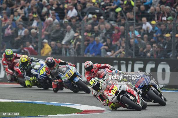 Andrea Iannone of Italy and Pramac Racing leads the field during the MotoGP of Netherlands Qualifying at TT circuit on June 27 2014 in Assen...