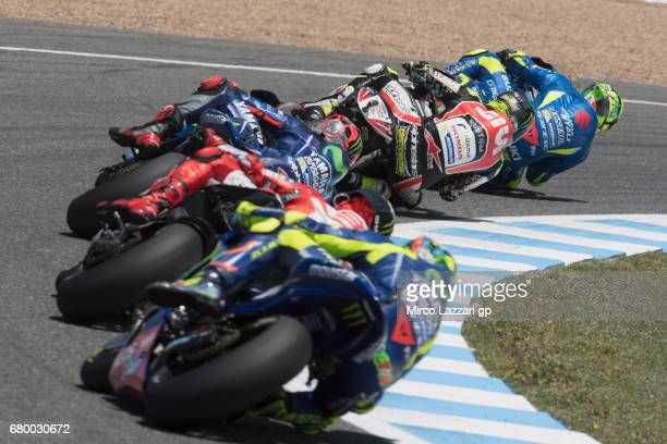 Andrea Iannone of Italy and Team Suzuki ECSTAR leads the fields during the MotoGP race during the MotoGp of Spain Race at Circuito de Jerez on May 7...