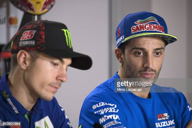 Andrea Iannone of Italy and Team Suzuki ECSTAR looks on during the press conference preevent during the MotoGP of San Marino Previews at Misano World...